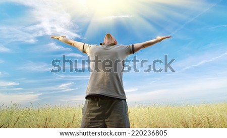 Man worship to God. Element of design.  - stock photo