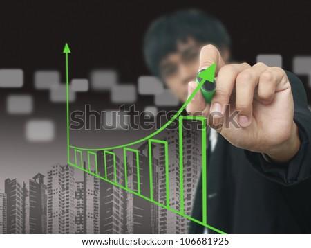 Man write growth chart - stock photo