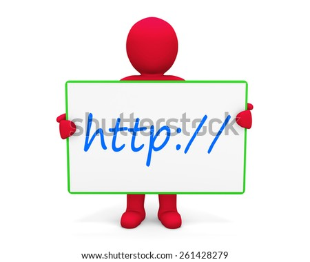 man write http:// - stock photo