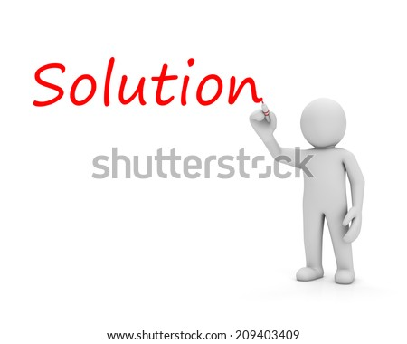 man write solution - stock photo