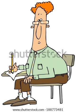Man writing at a student desk - stock photo
