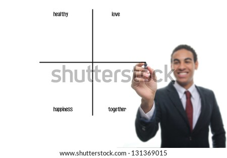 Man writing diagram: Healthy, Love, Happiness, Together - stock photo