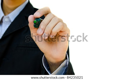 man writing, drawing something, on the screen isolated on white background. - stock photo