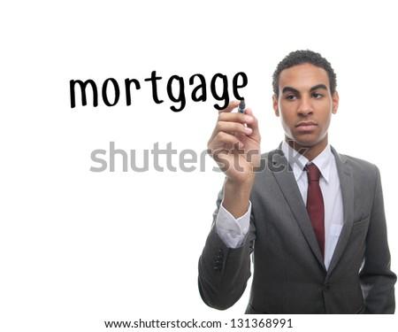 Man writing mortgage - stock photo