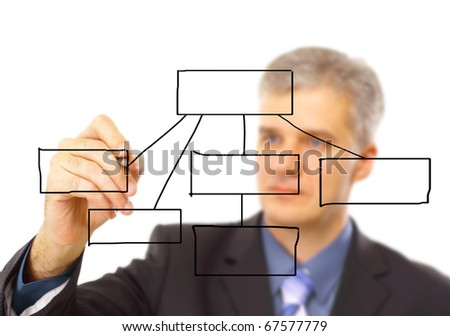 Man writing on a clear screen, add your own text or drawing
