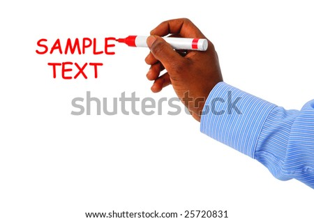Man writing on whiteboard - stock photo