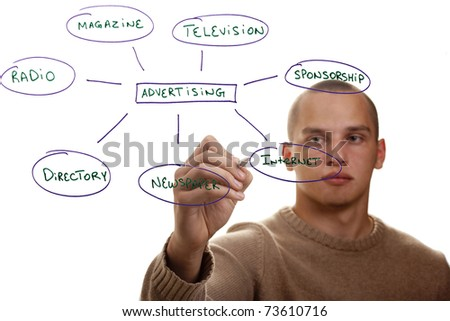 Man writing out ways to advertise his business. - stock photo