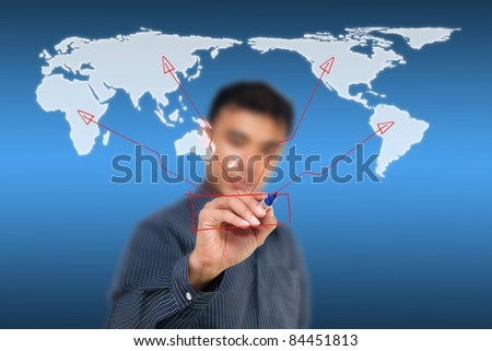 Man writing social network on world map