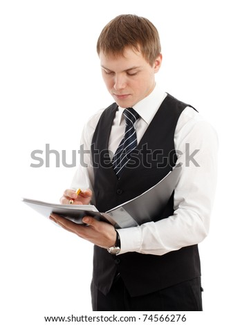 Man writing something in a folder. Isolated over white. - stock photo