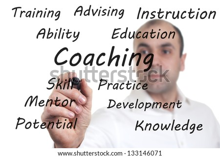 man wrote the words on the screen relating to coaching - stock photo