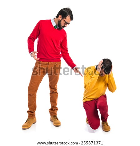 man yelling his brother - stock photo