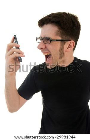 Man yelling into cell phone - stock photo