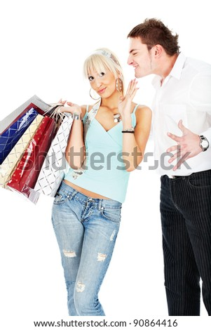 Man yelling on woman because she spend's too much money in shopping, isolated on white background - stock photo