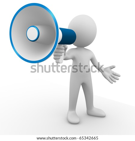 Man yelling with a megaphone - stock photo
