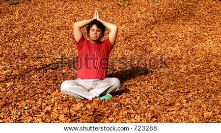 man yoga - stock photo