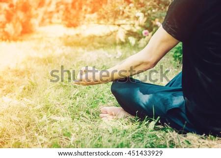 Man Yoga Meditation Nature Peaceful Concept - stock photo