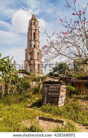 Manaca Iznaga tower in Valle de los Ingenios valley near Trinidad, Cuba. Tower was used to watch the slaves working on sugar cane plantation.