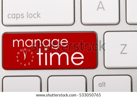 Manage time word written on computer keyboard.