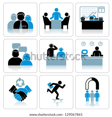 Management and Business Icons. Set - stock photo
