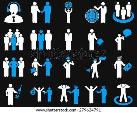 Management and people occupation icon set. These flat bicolor symbols use  light blue and white colors. Bright images are isolated on a black background. Angles are rounded.