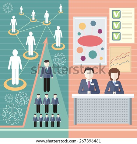 Management consulting services and human resource icons. Linked people. Human resource network template, info graphics in flat design. Raster version - stock photo