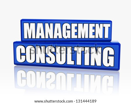 management consulting - text in 3d blue blocks with white letters, business concept - stock photo
