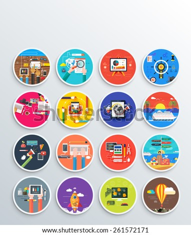 Management digital marketing srartup planning analytics design pay per click seo social media traveling tourism and development launch. Banners for websites flat design style. Raster version - stock photo