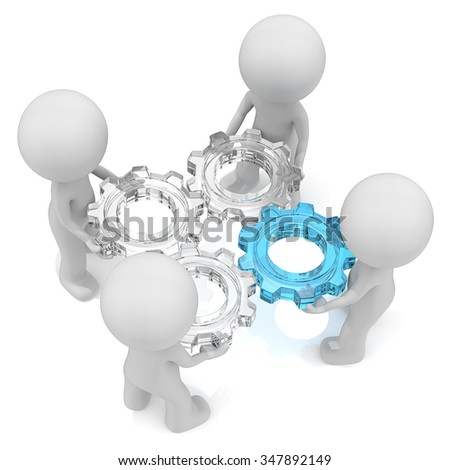Management. Dude 3D characters X4 holding Cogwheels of Glass. One of Blue Glass. Top view. - stock photo