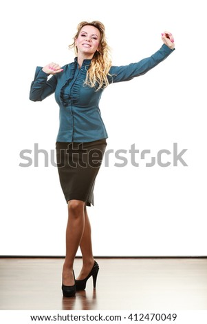 Management of company. Positive funny middle aged blonde business woman have fun. arms up. Joyful female manager on white. - stock photo