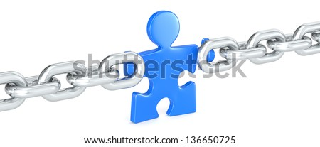 Management. Puzzle people holding Chain Link. Blue. - stock photo
