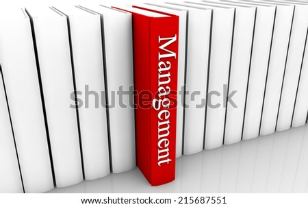Management red book standing out from a row of book - stock photo