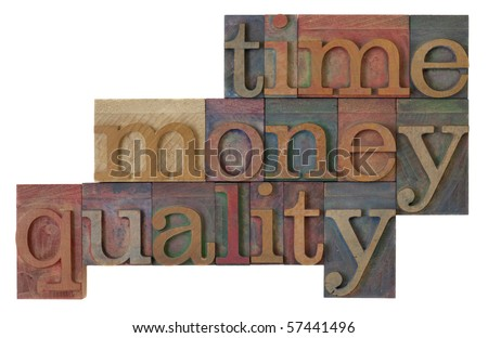management strategy - time, money, quality words  in vintage wooden letterpress type blocks, stained by color ink, isolated on white - stock photo