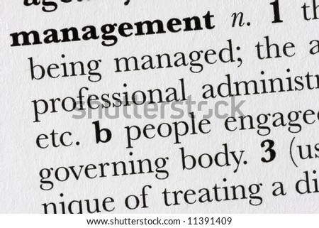 Management word dictionary definition closeup - stock photo