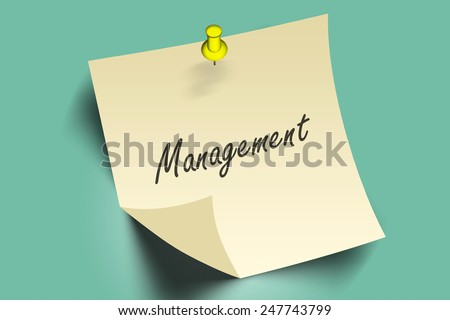 management words on pushpins note paper