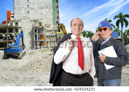 Manager and engineer in construction site