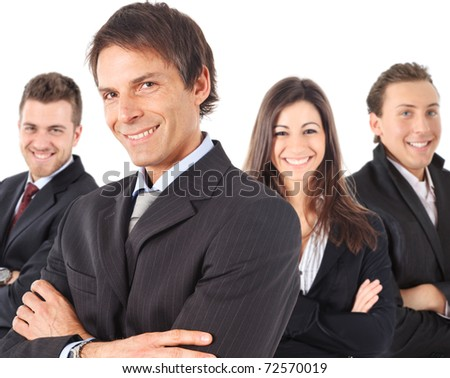 Manager and his team smiling. Isolated against white background. - stock photo