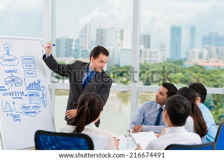 Manager asking a question during the briefing - stock photo