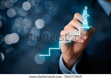 Manager (businessman, coach, leadership) plan to succeed. Coach (human resources officer, supervisor) motivate employee to growth, bokeh in background. - stock photo