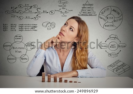 Manager businesswoman sitting at table thinking has idea calculating risks of new project implementation plan sketch formulas charts written on grey wall background. Leadership concept  - stock photo