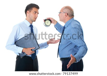 manager discipline young office worker for being late, point to clock, 5 past 9, isolated on white - stock photo