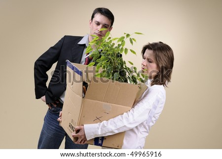 manager firing woman - stock photo