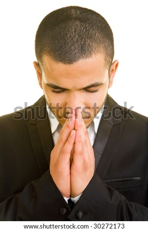 Manager folding his hands for a payer - stock photo