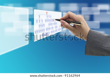 manager hand Fired employee from virtual whiteboard for human resource concept - stock photo