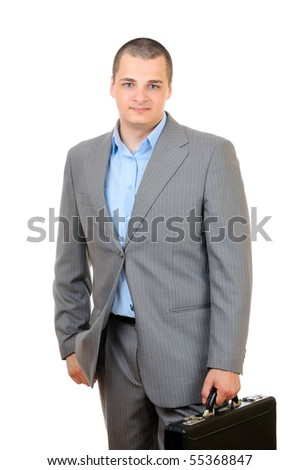 Manager holding leather briefcase isolated on white background - stock photo