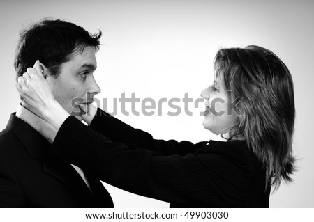 manager in conflict with worker - stock photo