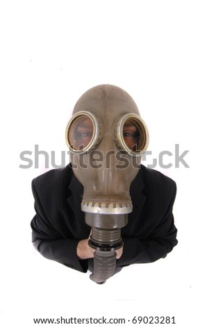 manager in the gas mask - stock photo