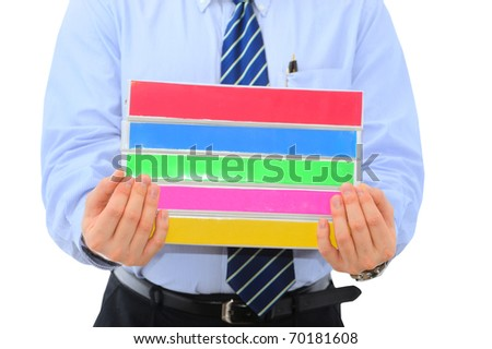 Manager is handing pile of folders for correction - stock photo