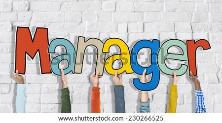 Manager Leader Head Hands Hold White Bricks Concept - stock photo