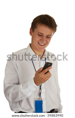 manager looks with a smile on your phone, on a white background