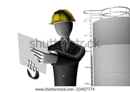 manager of industrial site 3d illustration isolated on white background - stock photo